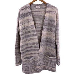Caslon stripe open front cardigan sweater Large